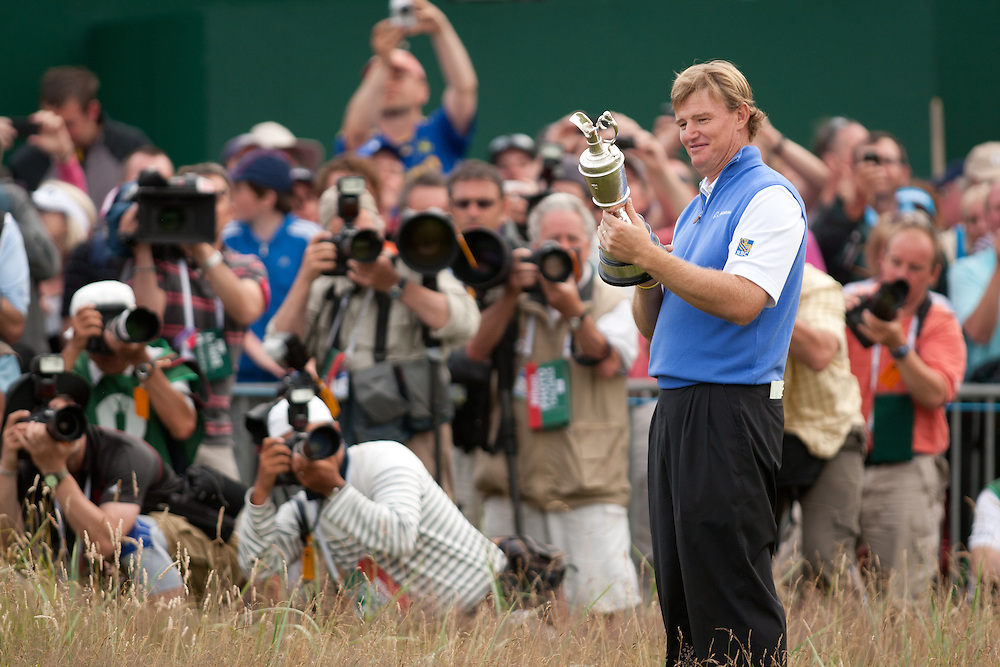 LYTHAM ST. ANNES, ENGLAND - JULY 22:  Ernie Els with the Claret Jug after winning the 141st Open Championship at Royal Lytham St Annes Golf Club in in Lytham St. Annes, England on July 22, 2012. (Photograph ©2012 Darren Carroll) *** Local Caption *** Ernie Els