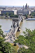 Eastern Europe, Hungary, Budapest, The Danube River The Chain Bridge