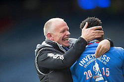 Inverness Caledonian Thistle's manager John Hughes with Inverness Caledonian Thistle's Edward Ofere. Inverness Caledonian Thistle lifts the cup. Falkirk 1 v 2 Inverness CT, Scottish Cup final at Hampden.