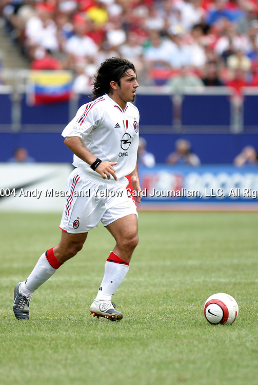 31 July 2004: Gennaro Gattuso during the first half. AC Milan of Italy's La Liga defeated Manchester United of the English Premier League 9-8 on penalties after the teams played to a 1-1 draw at Giants Stadium in the Meadowlands Complex in East Rutherford, NJ in a ChampionsWorld Series friendly match..
