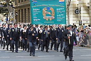 south afican miltary veterans march during Brisbane ANZAC day 2014 parade <br /> <br /> Editions:- Open Edition Print / Stock Image