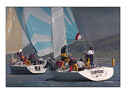 Racing at the Bell Lawrie Yachting Series in Tarbert Loch Fyne. Sunday racing was dominated by light winds...Mystique K5070.