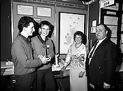 08/01/1988.01/08/1988.8th January 1988 .The Aer Lingus Young Scientist of the Year Award at the RDS, Dublin..Picture shows (L-R) Kevin Mc Cauley, Fergal Mc Aleavey, both from Abbey Vocational School, Donegal Town whose project 'A Survey of the Western Stock of Scomber Scombrus' won the Best Group with their teacher Mary Gallagher and Michael Hanley, President of the Teachers Union of Ireland.   ...