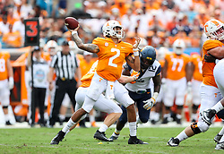 Sep 1, 2018; Charlotte, NC, USA; Tennessee Volunteers quarterback Jarrett Guarantano (2) passes the ball during the first quarter against the West Virginia Mountaineers at Bank of America Stadium. Mandatory Credit: Ben Queen-USA TODAY Sports