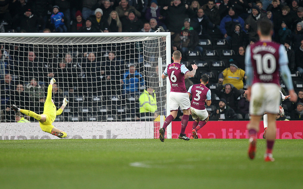 Derby County's Andreas Weimann scores his sides first goal   beating Aston Villa's Sam Johnstone<br /> <br /> Photographer Mick Walker/CameraSport<br /> <br /> The EFL Sky Bet Championship - Derby County v Aston Villa - Saturday 16th December 2017 - Pride Park - Derby<br /> <br /> World Copyright © 2017 CameraSport. All rights reserved. 43 Linden Ave. Countesthorpe. Leicester. England. LE8 5PG - Tel: +44 (0) 116 277 4147 - admin@camerasport.com - www.camerasport.com