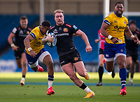 Exeter Chiefs' Stuart Hogg in action during todays match<br /> <br /> Photographer Bob Bradford/CameraSport<br /> <br /> Gallagher Premiership Semi-Final - Exeter Chiefs v Bath Rugby - Saturday 10th October 2020 - Sandy Park - Exeter<br /> <br /> World Copyright © 2020 CameraSport. All rights reserved. 43 Linden Ave. Countesthorpe. Leicester. England. LE8 5PG - Tel: +44 (0) 116 277 4147 - admin@camerasport.com - www.camerasport.com