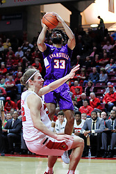 NORMAL, IL - January 05: K.J. Riley collects a foul for an offensive charge against defender Matt Chastain during a college basketball game between the ISU Redbirds and the University of Evansville Purple Aces on January 05 2019 at Redbird Arena in Normal, IL. (Photo by Alan Look)