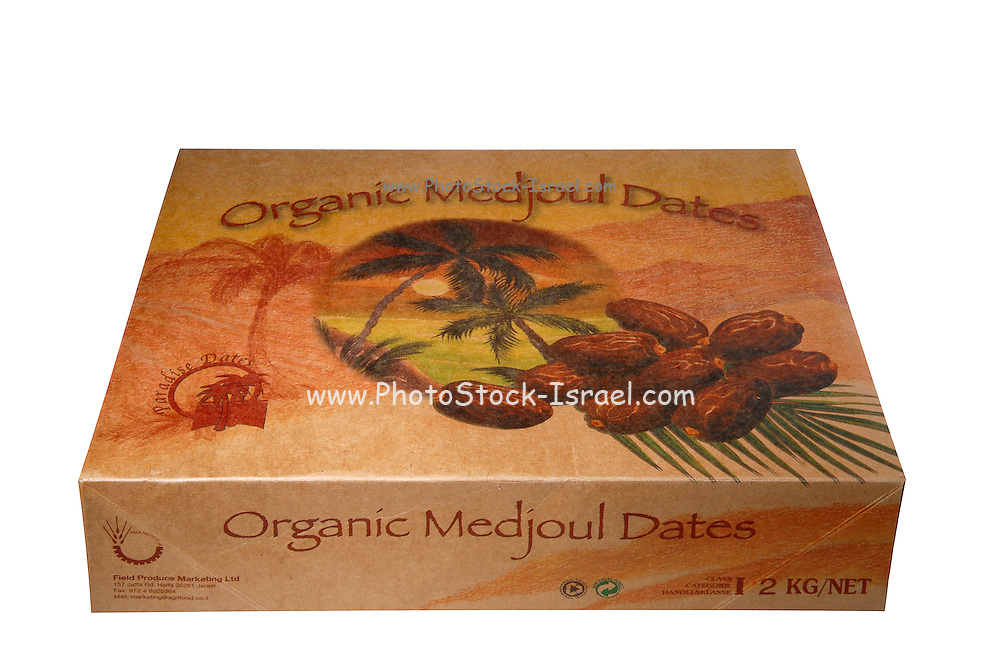 A box of Organic Medjoul Dates on white background
