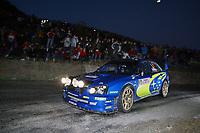 AUTO - WRC 2005 - MONTE CARLO RALLY - MONACO 23/01/2005 - PHOTO : FRANCOIS BAUDIN / DIGITALSPORT<br />N) 5 - PETTER SOLBERG (NOR) - PHIL MILLS / SUBARU IMPREZA WRC - ACTION