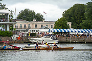 Henley-On-Thames, Berkshire, UK.,Sunday, 15.08.21,   spectators, Skiff, tied to the booms, Phyliss Court club the back drop. 2021 Henley Royal Regatta, Henley Reach, River Thames, Thames Valley,  [Mandatory Credit © Peter Spurrier/Intersport Images], Finals' Day,