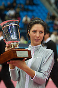 Moscow, Russia, 17/10/2004..The WTA Kremlin Cup tennis tournament. Women's singles champion Anastasia Myskina with the Kremlin Cup.