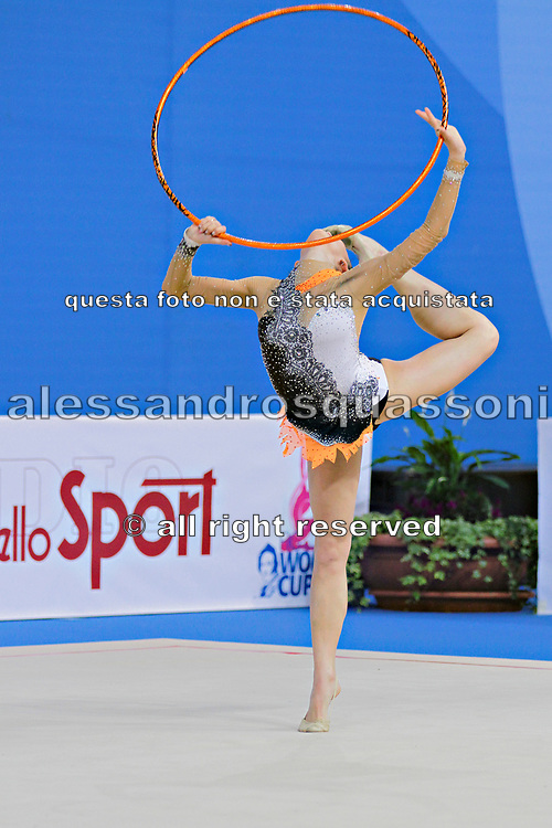 Vass Dora during qualifying at hoop in Pesaro World Cup at Adriatic Arena on April 26, 2013. Dora was born in Budapest on September 08,1991. She is a rhythmic gymnast since 1999 and member of the Hungarian National Team since 2004