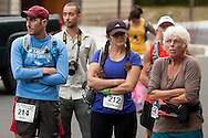 Kerhonkson, New York - Runners gather in the Peterskill parking area at Minnewaska State Park Preserve before competing in the Shawangunk Ridge Trail Run/Hike 20-mile race on Sept. 20, 2014.