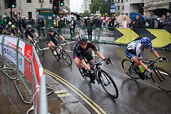 Alexis Ryan (USA) of CANYON//SRAM Racing leans into a corner in the eigth lap of the Prudential Ride London Classique - a 66 km road race, starting and finishing in London on July 29, 2017, in London, United Kingdom. (Photo by Balint Hamvas/Velofocus.com)