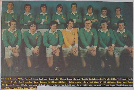 The 1973 Carrolls Allstar Football Team, back row from left, Jimmy Barry Murphy (Cork), Denis Long (Cork), John O'Keeffe (Kerry), Kevin Kilmurray (Offaly), Ray Cummins (Cork), Tommy Joe Gilmore (Galway), Brian Murphy (Cork) and Liam O'Neill (Galway). Front row from left, Johnny Cooney (Offaly), Anthony McGurk (Derry), Kevin Jer O'Sullivan (Cork), Billy Morgan (Cork), Frank Cogan (Cork), Liam Samon (Galway) and Mick Ryan (Offaly),