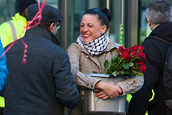 London, UK. 14th February, 2019. Public & Commercial Services (PCS) union members stand on a Valentine's Day-themed picket line outside the Department of Business, Energy and Industrial Strategy (BEIS) in solidarity with outsourced support staff taking strike action to demand the London Living Wage and an end to outsourcing.
