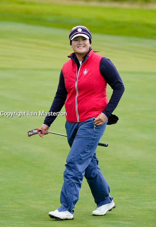 Auchterarder, Scotland, UK. 12 September 2019. Final practice day at 2019 Solheim Cup on Centenary Course at Gleneagles. Pictured; Angel Yin smiles on her proactice round. Iain Masterton/Alamy Live News