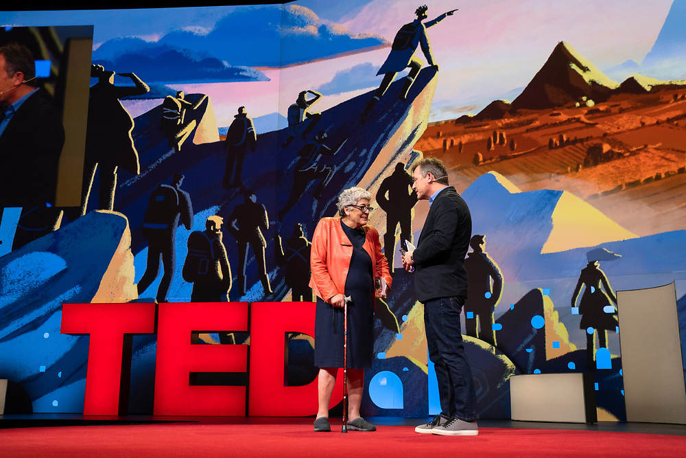 Joanne Chory speaks with Host Chris Anderson at TED2019: Bigger Than Us. April 15 - 19, 2019, Vancouver, BC, Canada. Photo: Bret Hartman / TED