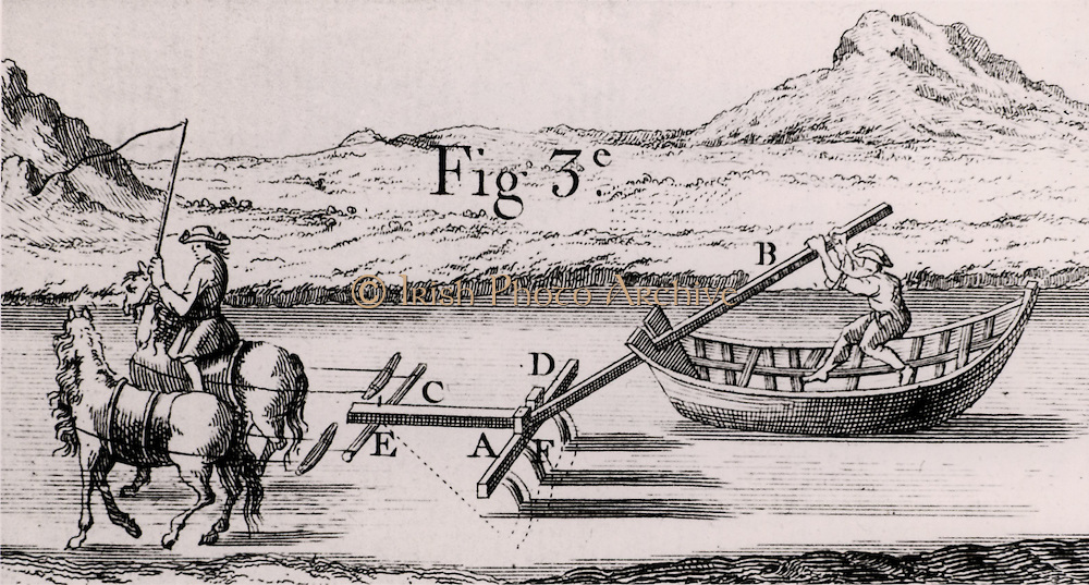 Plough used to deepen navigable rivers and canals. Man in boat exerted pressure on lever B, in order to keep plough  on canal bed. From 'Architecture Hydraulique' Bernard Forest de Belidor (Paris, 1737). Copperplate engraving