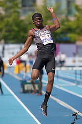 August 12, 2018 - Toronto, ON, U.S. - TORONTO, ON - AUGUST 12: Jared Kerr (Canada), long jump at the 2018 North America, Central America, and Caribbean Athletics Association (NACAC) Track and Field Championships on August 12, 2018 held at Varsity Stadium, Toronto, Canada. (Photo by Sean Burges / Icon Sportswire) (Credit Image: © Sean Burges/Icon SMI via ZUMA Press)