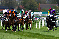 Grand National Meeting - Ladies' Day<br /> e.g. of caption:<br /> National Hunt Horse Racing - 2017 Randox Grand National Festival - Friday, Day Two [Ladies' Day]<br /> <br /> No 3 French horse CHIt Balko riden by Joe Colliver in the lead in the Crabbie's Top Novices' Hurdle (Grade 1) (Class 1)2m 103y, Good<br /> 9 Runners at Aintree Racecourse.<br /> <br /> COLORSPORT/WINSTON BYNORTH