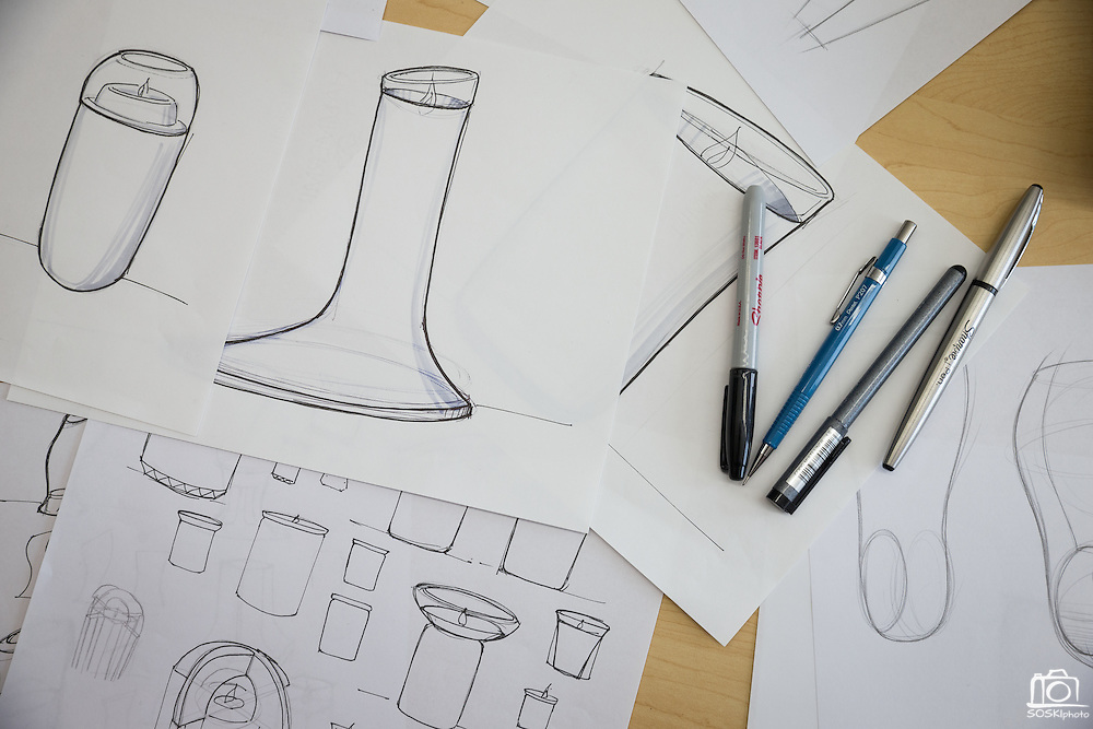 Prototype sketches of LuDela photographed at SurfaceInk in San Jose, California, on November 29, 2016. (Stan Olszewski/SOSKIphoto for Content Magazine)