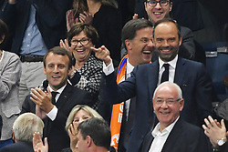 French President Emmanuel Macron, Prime Minister of Netherlands Mark Rutte, French Prime Minister Edouard Philippe during the FIFA 2018 World Cup Qualifier between France and the Netherlands at Stade de France on August 31, 2017 in Saint-Denis near Paris, France. Photo by Laurent Zabulon/ABACAPRESS.COM