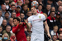 Football - 2021 / 2022 Premier League - Liverpool vs Burnley - Anfield - Saturday 21st August 2021<br /> <br /> <br /> Burnley's Chris wood battles with Liverpool's Trent Alexander-Arnold