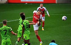 William Boyle of Cheltenham Town scores the opening goal making it 1-0- Mandatory by-line: Nizaam Jones/JMP - 31/10/2020 - FOOTBALL - Jonny-Rocks Stadium - Cheltenham, England - Cheltenham Town v Forest Green Rovers - Sky Bet League Two