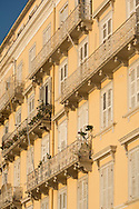 Ornate balconies on an old building near the Old Port in Corfu Town, Corfu, The Ionian Islands, The Greek Islands, Greece, Europe