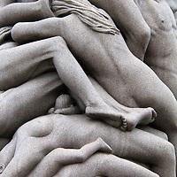 Europe, Norway, Oslo. Detail of granite monolith of human figures sculpted by Gustav Vigeland.