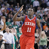 14 May 2012: Philadelphia Sixers point guard Jrue Holiday (11) celebrates during the Philadelphia Sixers 82-81 victory over the Boston Celtics, in Game 2 of the Eastern Conference semifinals playoff series, at the TD Banknorth Garden, Boston, Massachusetts, USA.