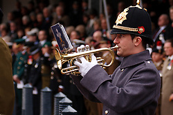 © under license to London News Pictures. 14/11/2010.  Musician from the Prince of Wales Division play the last post on on Remembrance Sunday in Birmingham's  Centenary Square. Photo credit should read Jason Patel/London News Pictures