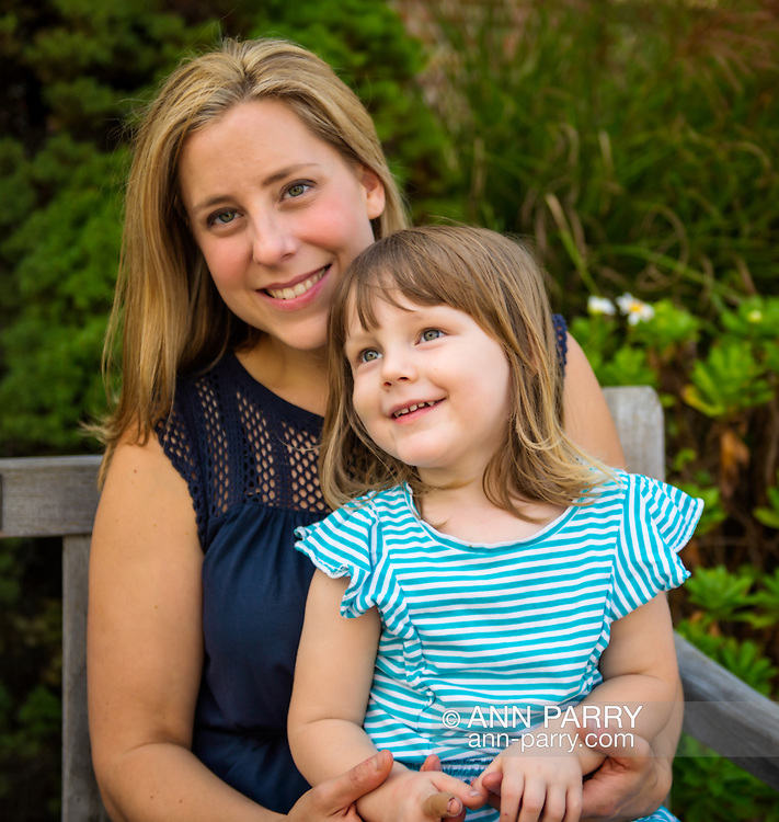 Long Island, New York, USA. October 15, 2017. Congressional candidate (NY-02) LIUBA GRECHEN SHIRLEY is with her daughter MILA. Shirely then gained nationwide attention when she successfully petitioned the FEC, Federal Election Commission, for the right to use campaign funds to cover childcare.