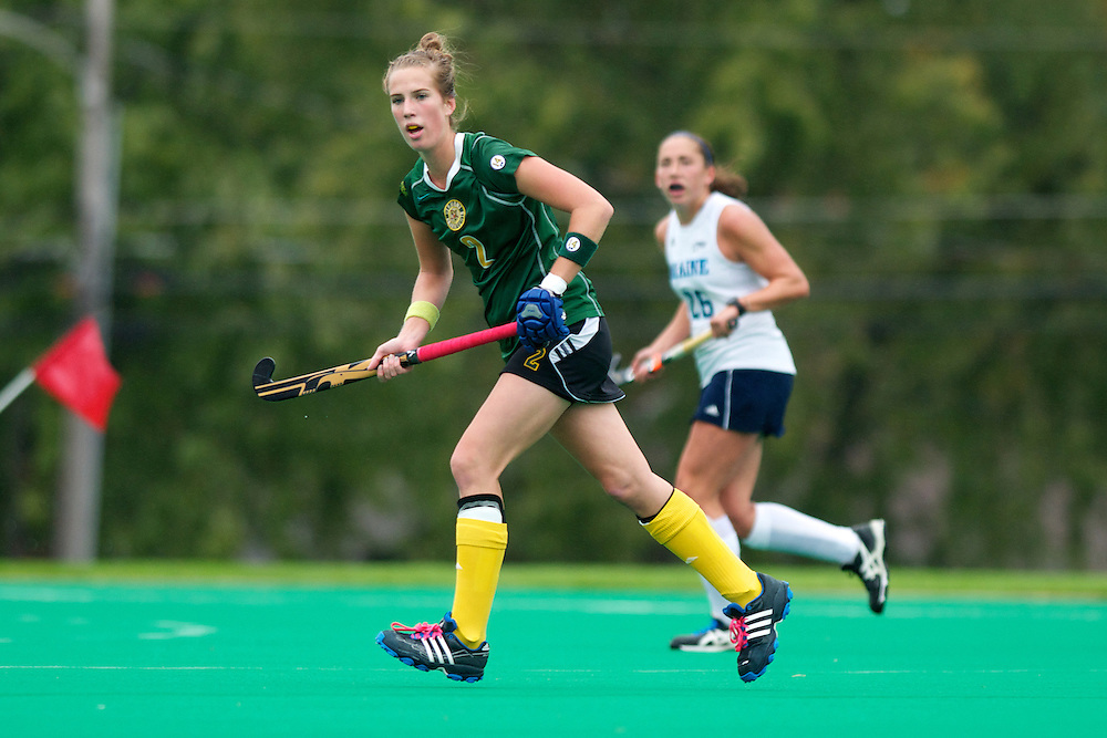 Catamounts midfielder Whitlee Burghardt (2) in action during the women's field hockey game between the Maine Black Bears and the Vermont Catamounts at Moulton/Winder Field on Saturday afternoon September 29, 2012 in Burlington, Vermont.