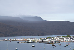 View of Ullapool on  the North Coast 500 scenic driving route in northern Scotland, UK