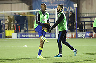 AFC Wimbledon defender George Francomb (7) and AFC Wimbledon midfielder Jimmy Abdou (8) warming up during the EFL Sky Bet League 1 match between AFC Wimbledon and Blackburn Rovers at the Cherry Red Records Stadium, Kingston, England on 27 February 2018. Picture by Matthew Redman.