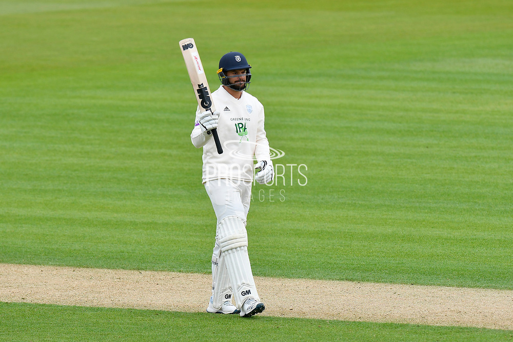 50 for Aiden Markram of Hampshire - Aiden Markram of Hampshire celebrates scoring a half century during the first day of the Specsavers County Champ Div 1 match between Hampshire County Cricket Club and Essex County Cricket Club at the Ageas Bowl, Southampton, United Kingdom on 5 April 2019.