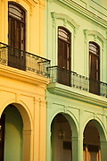 Part of building with balcony and arches, Havana, Cuba