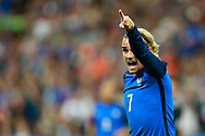 France's forward Antoine Griezmann gestures during the FIFA World Cup Russia 2018, Qualifying Group A football match between France and Netherlands on August 31, 2017 at the Stade de France in Saint-Denis, north of Paris, France - Photo Benjamin Cremel / ProSportsImages / DPPI
