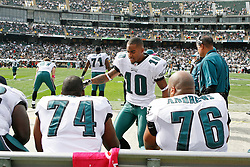 Philadelphia Eagles wide receiver DeSean Jackson #10 greets teamates before the NFL game between the Philadelphia Eagles and the Oakland Raiders. The Raiders won 13-9 at The Oakland-Alameda County Coliseum in Oakland, California. (Photo By Brian Garfinkel)