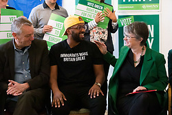 © Licensed to London News Pictures. 08/05/2019. London, UK.  MEP Green Party candidate for Yorkshire and Humber, Magid Magid is congratulated after his speech by MEP Green Party candidate for South West, Molly Scott-Cato at the Green Party European election campaign launch, held at the Candid Arts Trust.  Photo credit: Vickie Flores/LNP