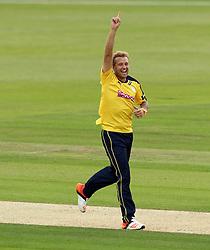 Hampshire's Gareth Berg celebrates taking the wicket of Glamorgan's Mark Wallace - Photo mandatory by-line: Robbie Stephenson/JMP - Mobile: 07966 386802 - 03/07/2015 - SPORT - Cricket - Southampton - The Ageas Bowl - Hampshire v Glamorgan - Natwest T20 Blast