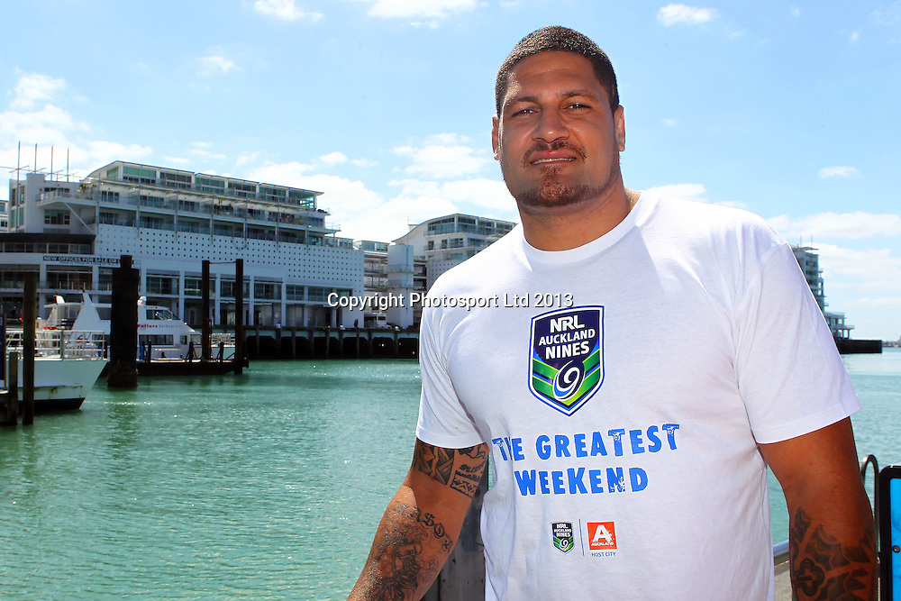 Willie Mason is in the country to promote the 2014 NRL Nines Rugby League tournament in Auckland. Auckland Adventure Jet Jetboat Tours, Auckland Harbour. 21 October 2013. Photo: William Booth/www.photosport.co.nz
