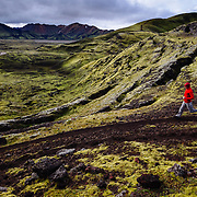 Gavriel Jecan runs through the Icelandic Highlands near the Landmannalaugar World Heritage Site in Iceland.