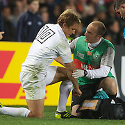 Jonny Wilkinson, England, injured during the England V Scotland Pool B match during the IRB Rugby World Cup tournament. Eden Park, Auckland, New Zealand, 1st October 2011. Photo Tim Clayton...
