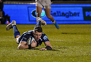 Sale Sharks Sam James slides in to score his second try during a Gallagher Premiership Rugby Union match won by Sharks 39-0, Friday, Mar. 6, 2020, in Eccles, United Kingdom. (Steve Flynn/Image of Sport)