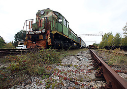 October 2, 2018 - Chornobyl Exclusion Zone, Kyiv R, Ukraine - A rust-ridden locomotive is seen on the tracks at the abandoned Yaniv railway station in the Chornobyl (Chernobyl) Exclusion Zone, Kyiv Region, northern Ukraine, October 2, 2018. Ukrinform. (Credit Image: © Tarasov/Ukrinform via ZUMA Wire)