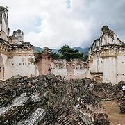 Ruins of the Iglesia y Convento de La Recolección in Antigua, Guatemala. The church was destroyed by the earthquake of 1773.