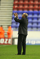 Photo: Sportsbeat Images.<br />Wigan Athletic v Hull City. Carling Cup. 28/08/2007.<br />Hull City coach Phil Brown applauds the Hull fans